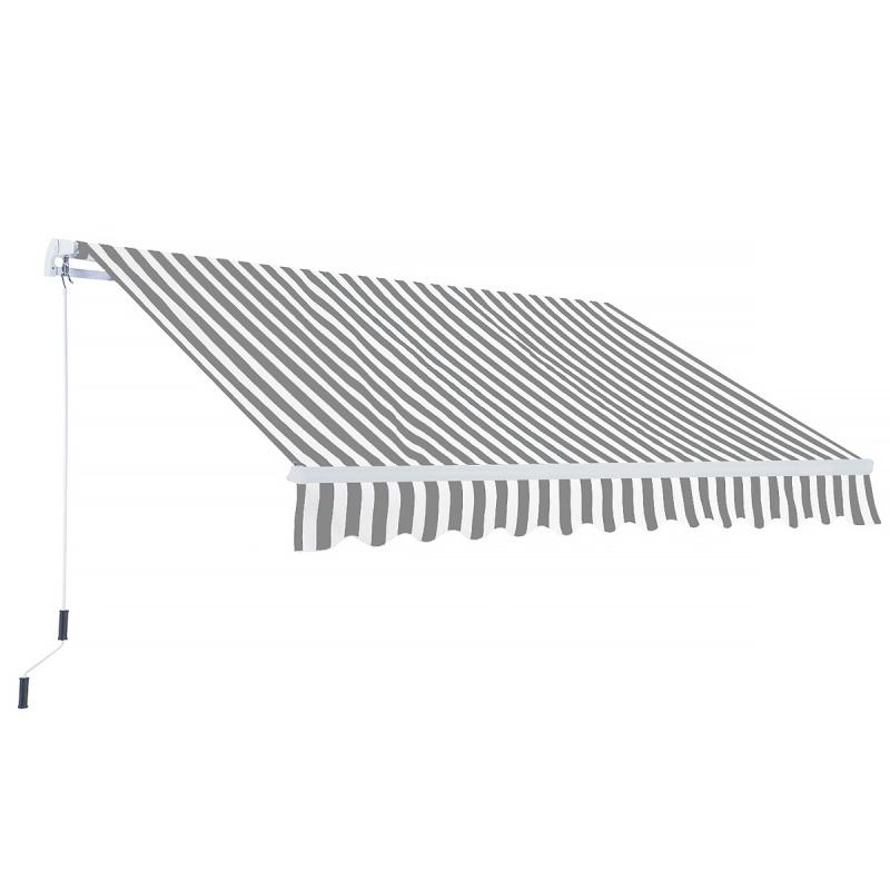 Gelenkarmmarkise In Grau Weiss Gartenmoebel Polyrattan