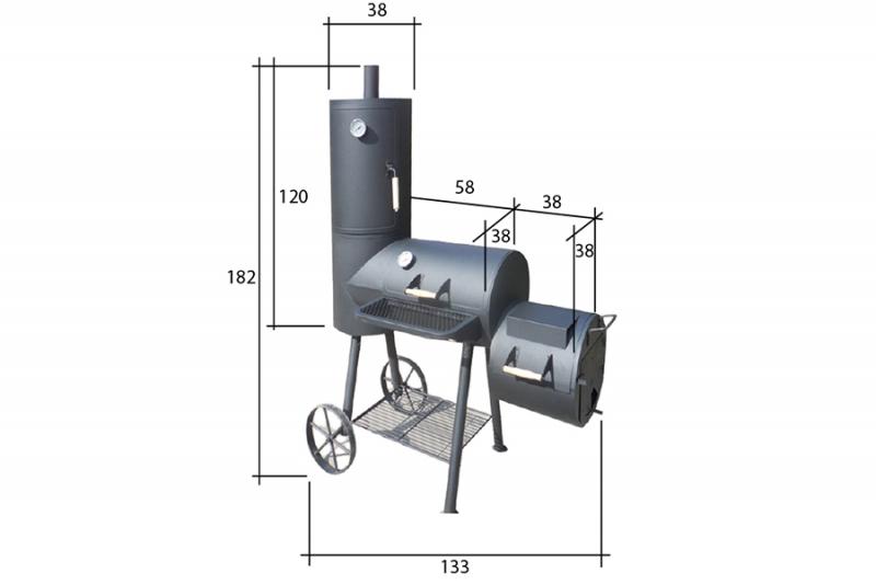 smoker r ucherofen grill holzkohlegrill gartenmoebel polyrattan und holz m bel von jet line. Black Bedroom Furniture Sets. Home Design Ideas