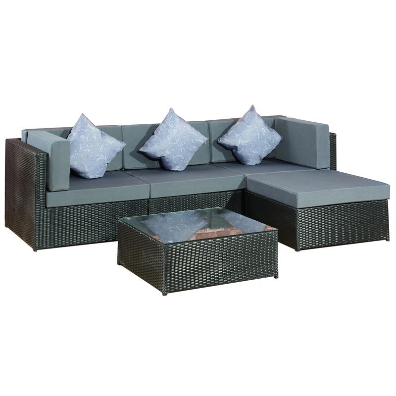 Garten Lounge Gruppe Bergen - Gartenmoebel - Polyrattan und Holz ...