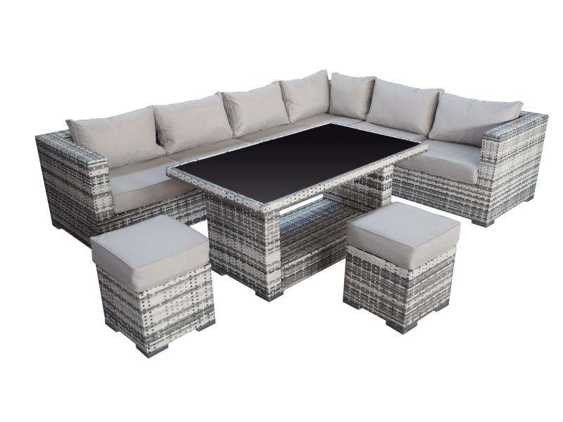 ecksofa mit esstisch f r drau en gartenmoebel polyrattan und holz m bel von jet line. Black Bedroom Furniture Sets. Home Design Ideas