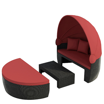 Sun day bed `Bozen´ black/red